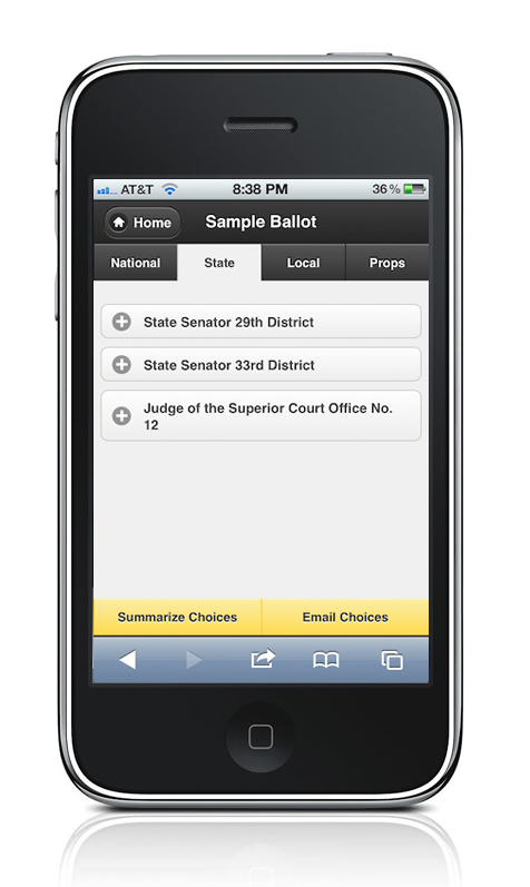 During Fall 2011, iVote was the team-based final project for my intro to HCI class. A jQuery web app to facilitate the political voting process, it featured a regionalized sample ballot, online registration capabilites and polling place lookup.