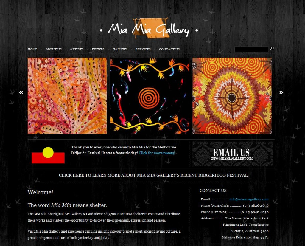 Designed for Colin McKinnon-Dodd and the Mia Mia Aboriginal Art Gallery and Cultural Center in Melbourne, Australia. This was during the summer of 2009. Built via WordPress, this was my first foray into web design. It has since been redesigned. www.miamiagallery.com