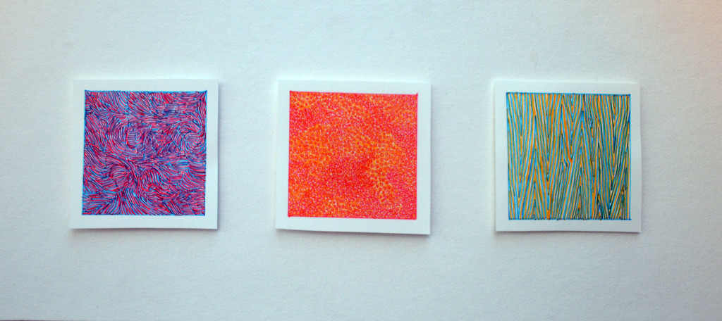 "Each square is 2"" in width. Drawn with fine-tipped blue, red and yellow felt pens."